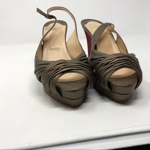Louboutin Platform Stilettos in Bronze Metallic